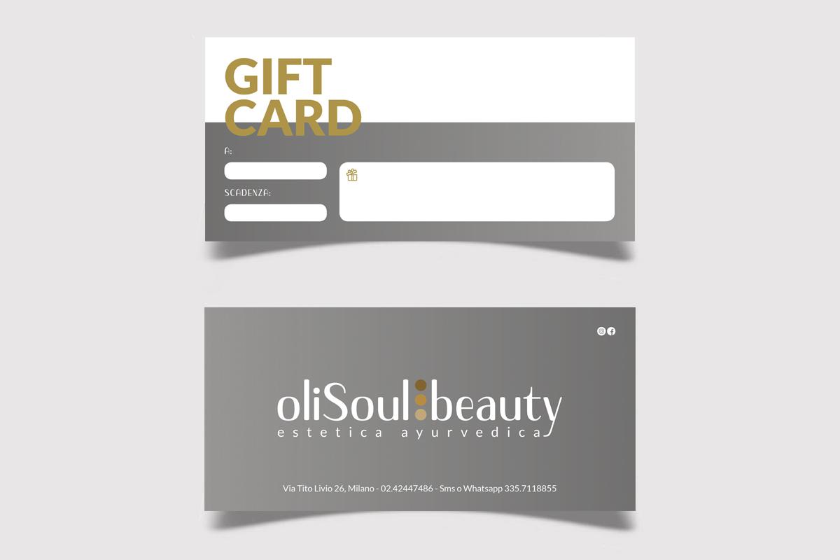 Realizzazione grafica e stampa Gift Card OliSoulBeauty