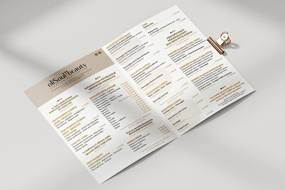 Realizzazione grafica e stampa flyer OliSoulBeauty